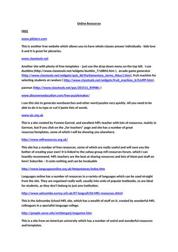 Useful Online Resource Sheet