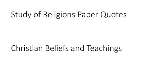 AQA GCSE Religious Studies A (9-1) Christian Beliefs and Teachings Quotation PPT