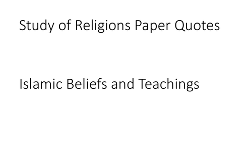 AQA GCSE Religious Studies A (9-1) Islamic Beliefs and Teachings Quotation PPT