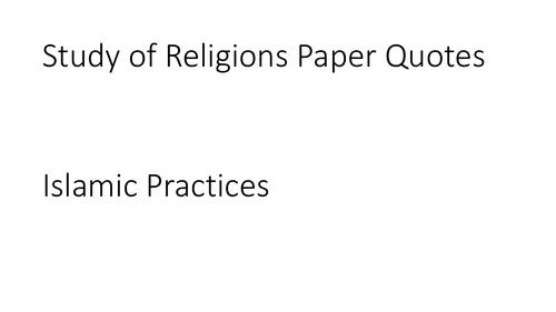 AQA GCSE Religious Studies A (9-1) Islamic Practices Quotation PPT