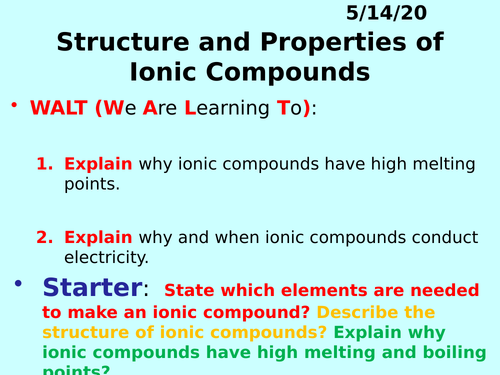Properties of Ionic Compounds PPT - GCSE Chemistry