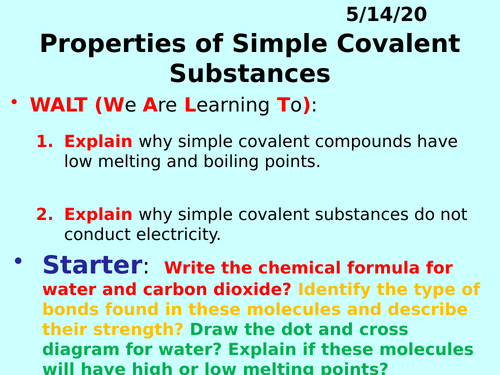 Properties of Simple (Covalent) Molecules PPT - GCSE Chemistry