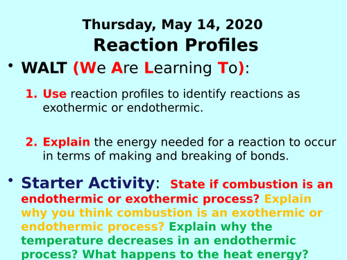 Reaction Profiles (Energy Diagrams) PPT - GCSE Chemistry