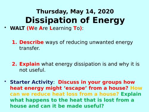 Dissipation of Energy PPT - GCSE Physics