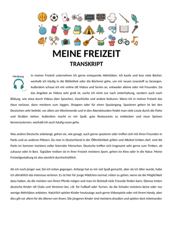 Freizeit GCSE German Listening Lesson