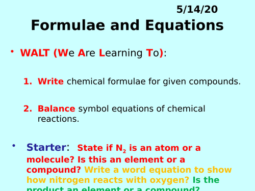 Formulae and Equations PPT - GCSE Chemistry