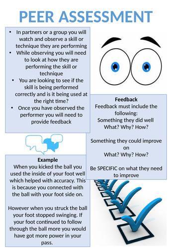 Peer Assessment guide card