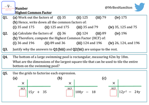 Highest (Greatest) Common Factor Reasoning Resource: Factorising expressions