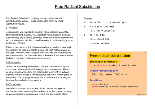 A* AS/A Level Chemistry Poster on Free Radical Substitution