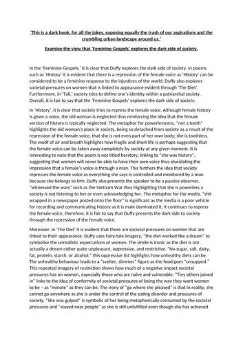 AQA A Level Feminine Gospels Band 5 Essay