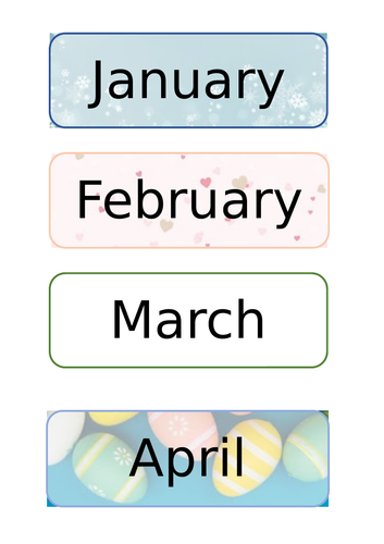 Month Display Cards