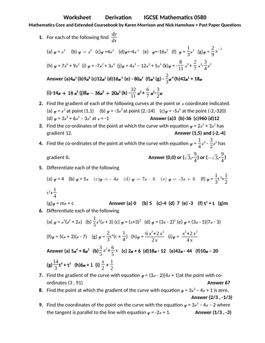 Derivatives, IGCSE Mathematics 0580 Worksheet with Answers