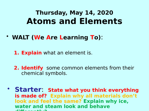 Atoms and Elements PPT - GCSE Chemistry