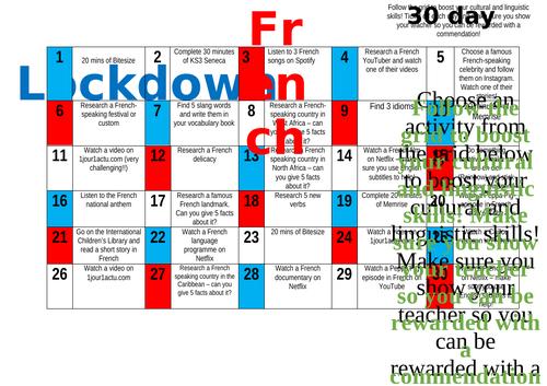 30 Day Challenge Grid - KS3 French