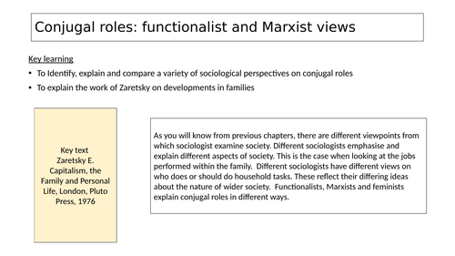 Conjugal roles: functionalist and Marxist views Sociology