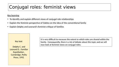 Conjugal roles: feminist view Sociology