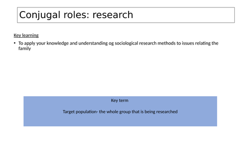 Conjugal roles: research Sociology