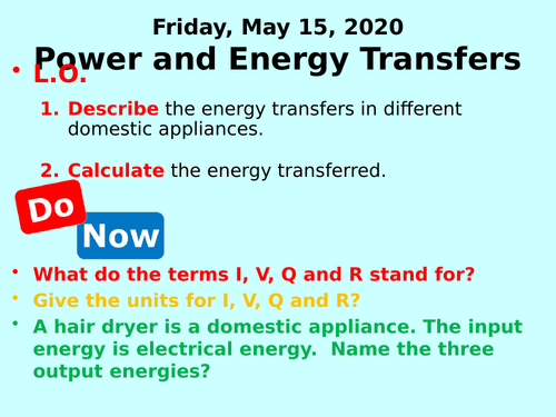 Power and Energy Transfers PPT - GCSE Physics