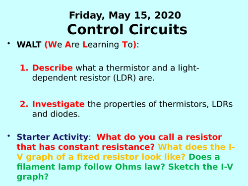 Control Circuits (LDRs, Thermistors and Diodes) PPT - GCSE Physics