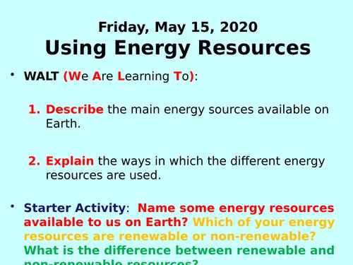Energy Resources PPT - GCSE Physics