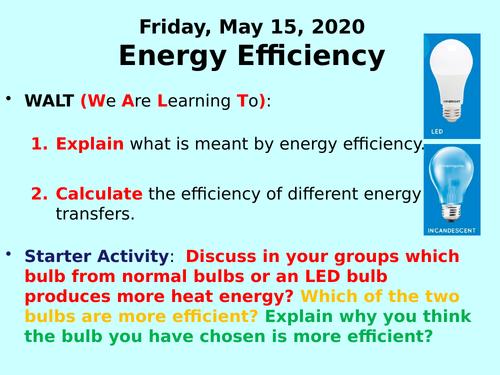 Energy Efficiency PPT - GCSE Physics