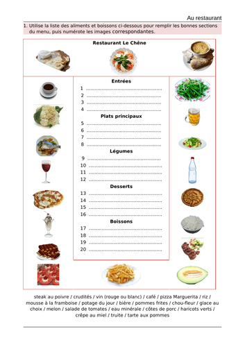 Au restaurant - KS3- French-whole lesson