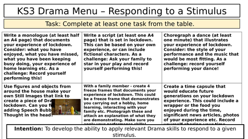 Drama home learning - responding to covid
