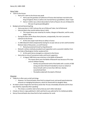 AQA AS History: Tudors (Option 1C) – Henry VII, 1485-1509