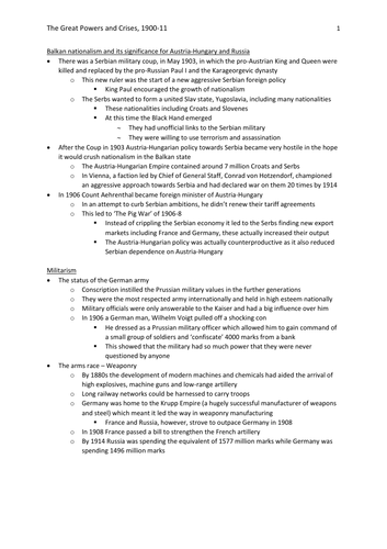 AQA AS History: International Relations (Option 2K) – The Great Powers and Crises, 1900-11