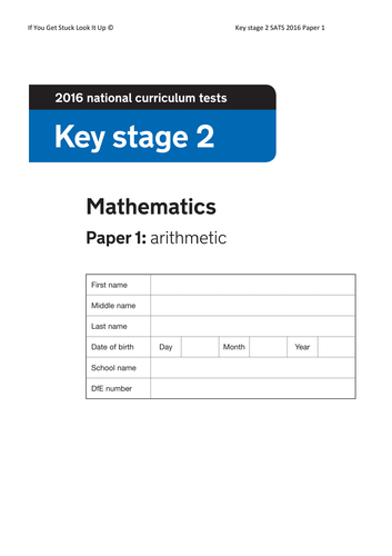 Key Stage 2 Maths 2016 Paper 1 Arithmetic (on single sheet)