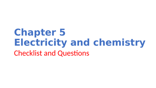 IGCSE Chemistry Chapter 5 Electricity and chemistry