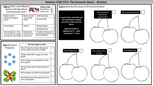 AQA America 1920-1973: Chapter One Revision WS