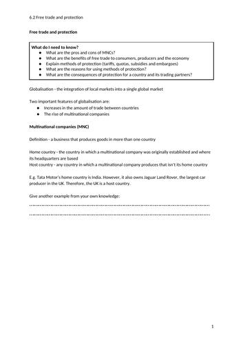 iGCSE Economics. Unit 6. Topic 2: Protectionism