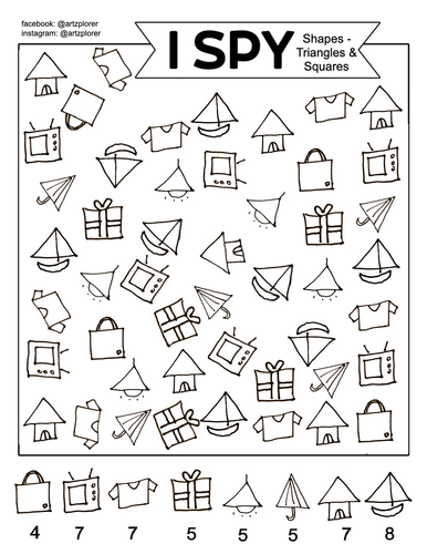 I Spy - Shapes (Triangles & Squares): Colouring and quiet game for kids