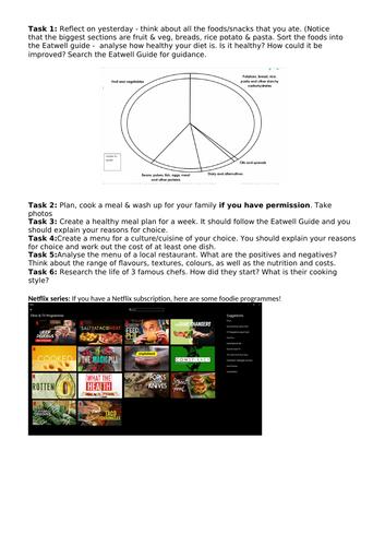 KS3 food - home learning/lockdown tasks
