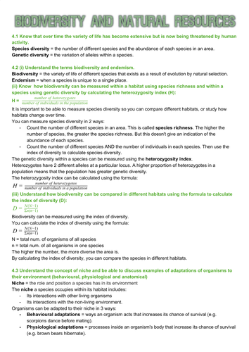 Edexcel SNAB Biology A level module 4: Biodiversity and natural resources revision notes