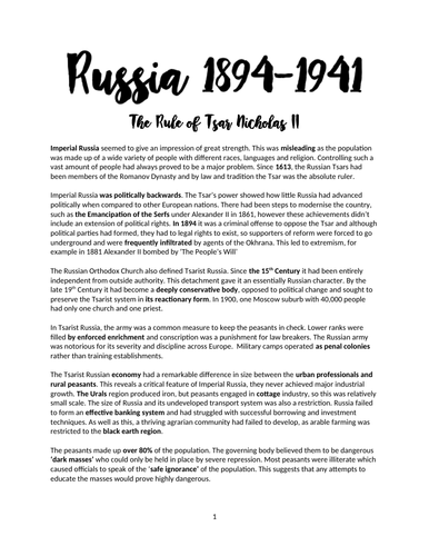 Russia 1894-1941 - A-LEVEL HISTORY- OCR - A* - Complete Revision Notes