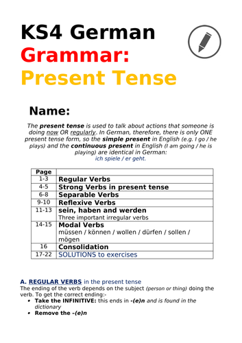 German Present Tense for GCSE