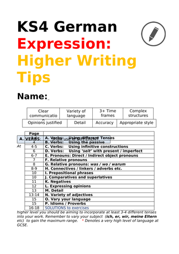 German Higher Writing Tips for GCSE