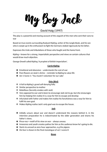 My Boy Jack ~ David Haig - A-LEVEL ENGLISH LIT - AQA - A* - Complete Revision Notes