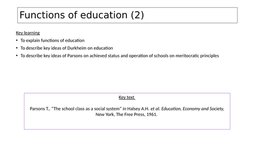 Sociology of Education- Functions of education