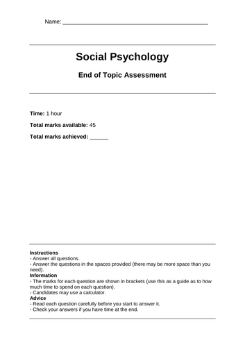 Edexcel Psychology A Level End of Topic Assessments