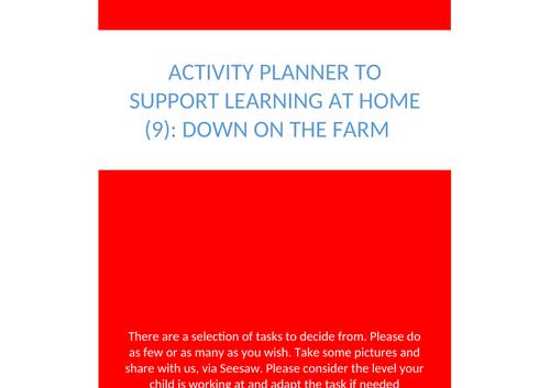 Home School Play Activity Bank  EYFS: Down on the Farm