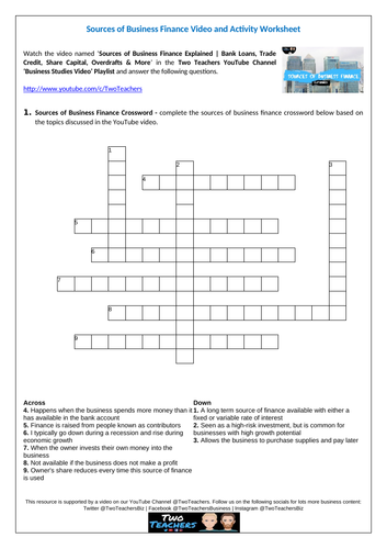 Sources of Business Finance Video and Activity Worksheet