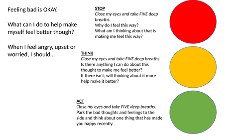 Traffic Light - managing anxiety poster