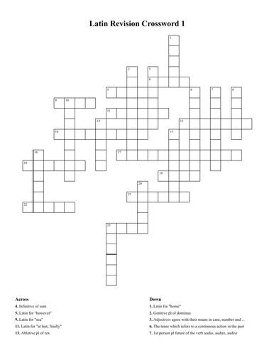 Latin Vocab 13+ or Year 9:  Crossword