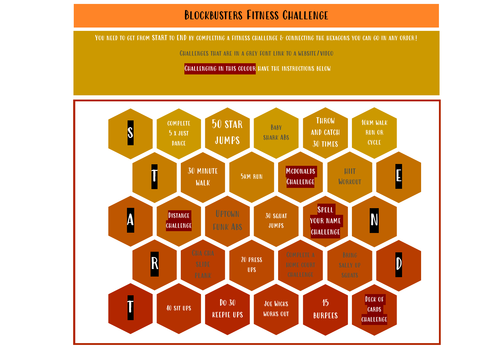 PE Remote Learning - Blockbusters Fitness Challenge