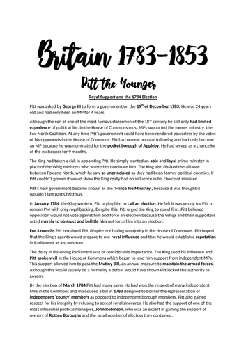 Pitt to Peel - A-LEVEL HISTORY- OCR - A* - Complete Revision Notes