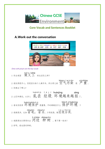 Mandarin Chinese GCSE/IGCSE Environment Booklet + video