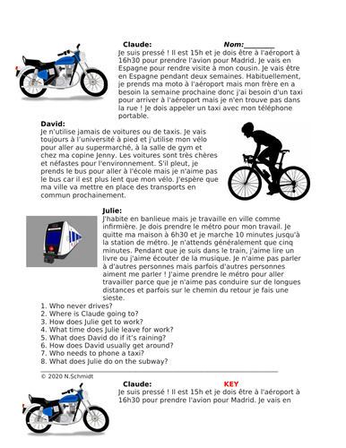 Le Transport Lecture: French Reading on Transportation